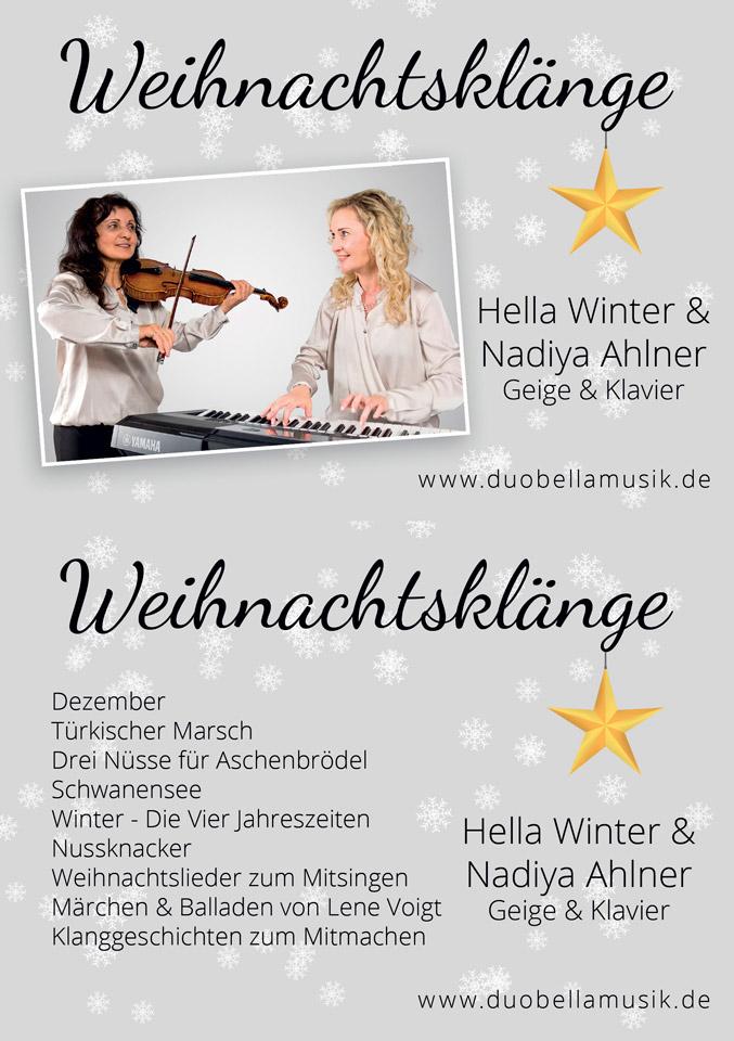 Weihnachtskonzert Duo Bella Musik Geige Klavier