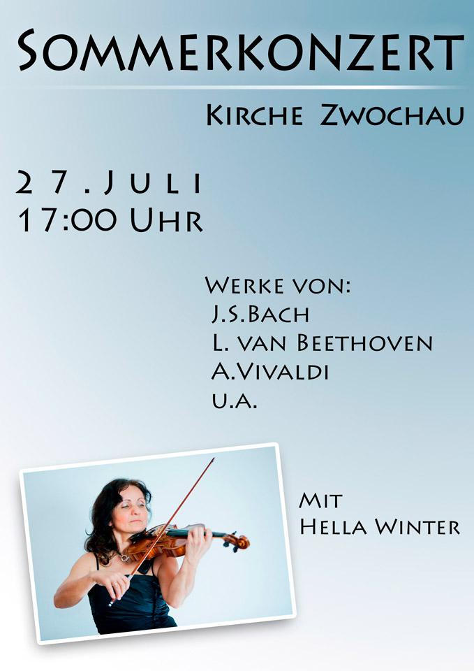 Sommerkonzert Kirche Geigerin Hella Winter